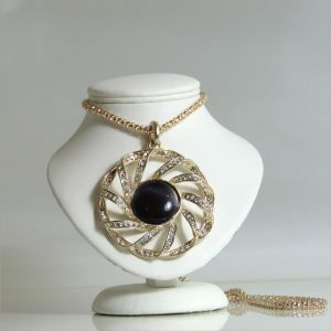 Black Stone Crystal Spiral Necklace