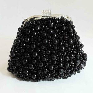Black Pearl Beaded Pouch