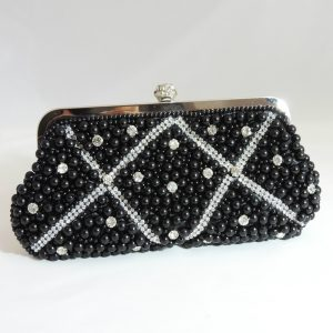 Princess Black Crystal Beaded Clutch