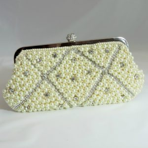 Princess Cream Crystal Beaded Clutch
