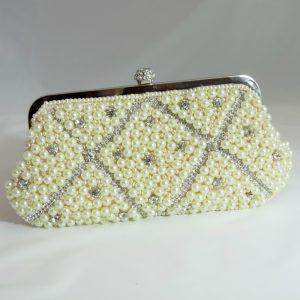 Princess Cream Crystal Beaded Clutch