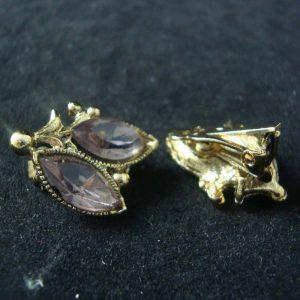 Vintage Purple Gem Clip Earrings