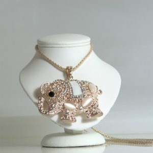 Pink Pearl Crystal Elephant Necklace