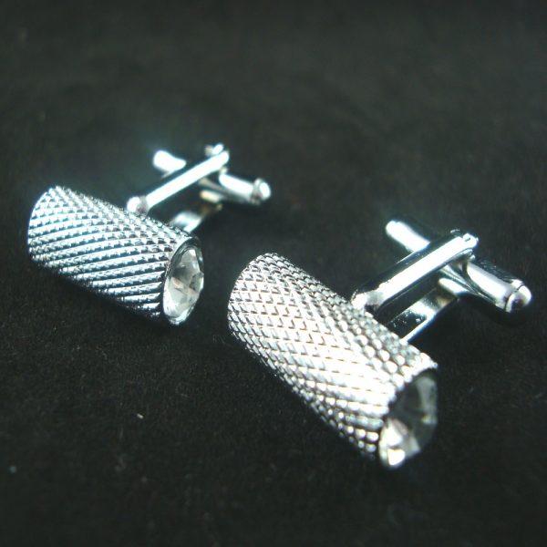 barrel crystal cufflinks