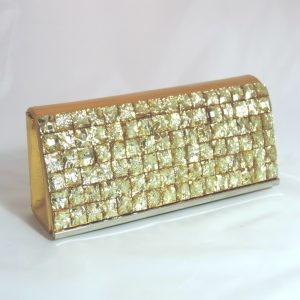 Gold Square Crystal Clutch