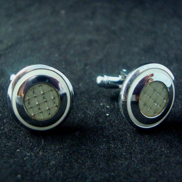 round pearl button cufflinks
