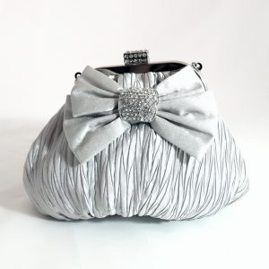 Silver Crystal Bow Pouch