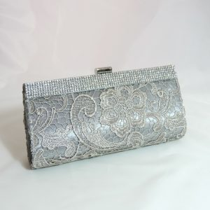 Silver Embroidered Crystal Clutch