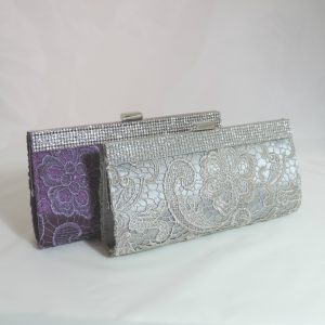 Purple Embroidered Crystal Clutch