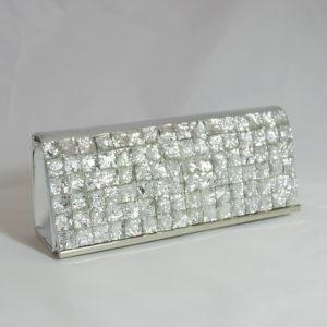 Silver Square Crystal Clutch