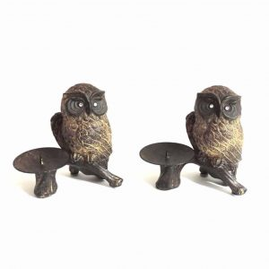 Twin Owl Candle Holder Set